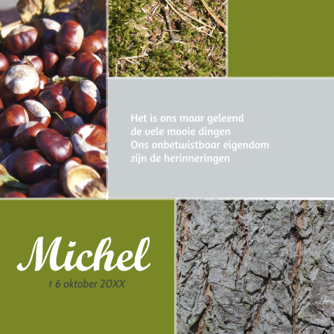 Rouwkaart in herfst thema