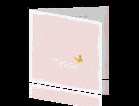 0b3648c734b ... Lieve rouwkaart met gouden vlinder op roze achtergrond ...